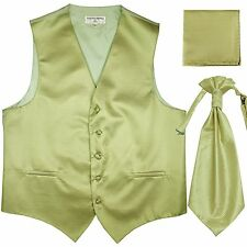 New Men's Horizontal Stripes Tuxedo Vest Waistcoat & Ascot & Hankie Set Sage
