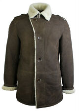 Mens Retro Real Russian Sheepskin Jacket Brown Cream Classic Smart Vintage