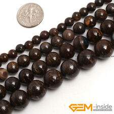 "Natural Bronzite Jasper Gemstone Round Beads For Jewelry Making 15""6mm 8mm 10mm"