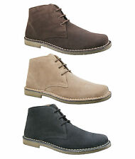 Mens New Black Brown Sand 3 Eyelet Suede Leather Desert Boots Free UK Postage