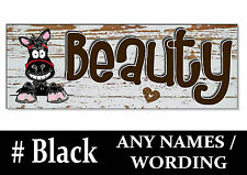 BLACK cob HORSE PONY cartoon name Sign Plaque Stable door tack room gift saddle