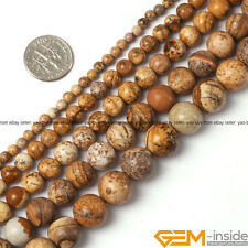 Natural Round Picture Jasper Jewelry Making loose gemstone beads strand 15""