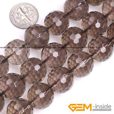 """Natural Smoky Quartz Faceted Round Beads For Jewelry Making 15"""" 4mm 6mm 8mm 10mm"""