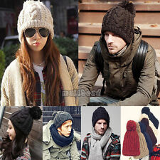 Mens Womens Unisex Winter Slouch Beanie Bobble Twist Hat Warm Knitted Oversized