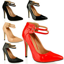WOMENS LADIES HIGH STILETTO HEEL COURT SHOES PARTY WEDDING STRAPPY SHOES SIZE