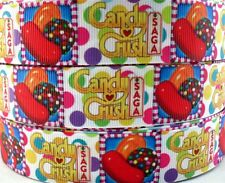 10/50/100yds 1'' (25mm) candy crush saga printed grosgrain ribbon hair bow