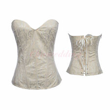 Champagne Sexy Bridal Corset Bustier Jacquard Wedding Christmas Shapewear