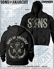 AUTHENTIC SONS OF ANARCHY SOA CROSSED GUN BLACK SAMCRO REAPER BIKER HOODIE S-3XL