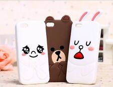 3D Brown Bear Rabbit Soft Silicone Back Case Mobile Cover for iPhone 5 5S 4 4s