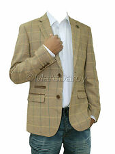 Mens Designer Oak Brown Tweed Herringbone Vintage Coat Jacket Checked Tan Blazer