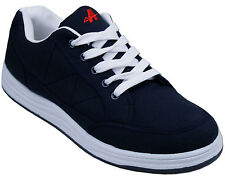 Mens New Navy Blue Canvas Lace Up Skate Style Trainers Free UK Postage
