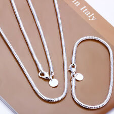 Wholesale 925Sterling Silver Lovely snake chain Necklace Bracelet set 3MM S076
