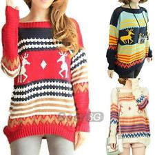 Pull Pullover Chandail Tricot Sweater Manche Longue Chaud Hiver Femme Taille S