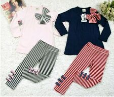 2PCS Baby Girls Toddlers Clothes Striped Bow Shirt+Leggings Kids Sets 1-6Years
