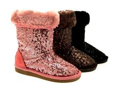 WOMENS GIRLS LADIES KIDS SEQUIN FUR LINED MID CALF FAUX SHEEPSKIN BOOTS SIZE 7-8