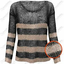 NEW LADIES WOMENS SEQUIN LOOSE KNIT STRIPE JUMPERS KNITTED CROP LOOK JUMPER TOPS