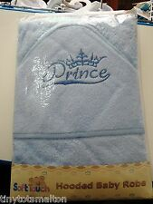 Baby boys hooded bath robe/towel, soft touch, prince, free postage