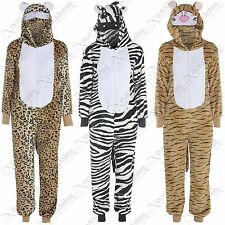 WOMEN MENS UNISEX ANIMAL ONESIES SOFT FLEECE NOVELTY FANCY DRESS ONESIE EAR HOOD