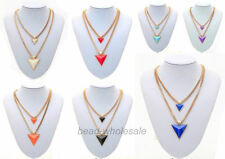 Woman's Jewelry Gold Plated Chain Triangle Double-Deck Necklace 21""