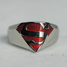 Authentic SUPERMAN Man Of Steel Shield Logo Stainless Steel Ring Size 9-13 NEW