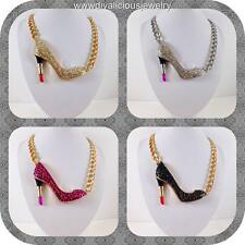 Crystal Lipstick Heel Stiletto Makeup Diva Bling Necklace - 4 Colors