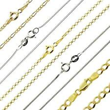 "375 Solid 9ct White / Yellow Gold 14 16 18 20 22 24 26"" Curb Chain Link Necklace"