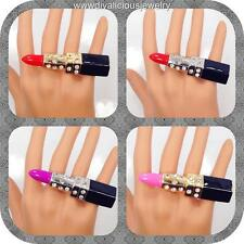 Crystal Rhinestone Lipstick Diva Bling Ring - 4 Colors