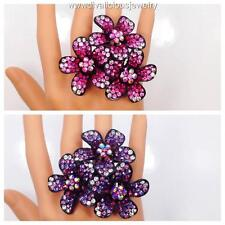 Crystal Jumbo Flower Diva Bling Ring - Purple or Pink