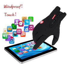 Windproof Cycling Bicycle Full Finger Leather Fleece Thermal Touch Screen Gloves