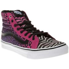 New Womens Vans Pink Multi Sk8 Hi Slim Textile Trainers Top Lace Up