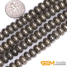 """Silver Gray Pyrite Gemstone Rondelle Spacer Beads For Jewelry Making 15"""" Strand"""