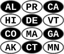 USA STATE OVAL STICKER DECAL ALL STATES AND TERRITORIES CA HI PR FL OR ME NV ETC
