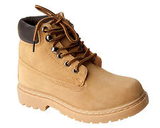 NEW BOYS HONEY FAUX SUEDE LACE UP WALKING BOOTS SHOES UK SIZE 13-6