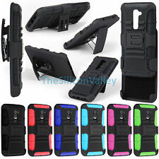 Rugged Hybrid Hard Case Armor Cover+Belt Clip Holster Stand For LG G2 D802 2013