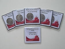 Personalised Lucky Sixpence Wedding Favour Red Heart Free P&P (W06)