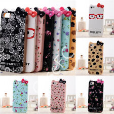 Hello Kitty Cat Ear Ribbon Flower Silicone Soft Back Case Cover For iPhone 5 5s