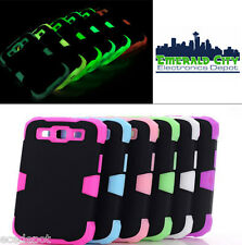 Glow in the Dark Rubber Cover Dual Layered Case for Samsung Galaxy S3, 6 Colors!