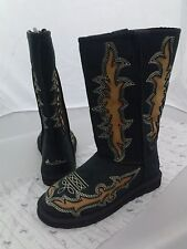 Montana West Brown and Black Cowgirl Winter Boots