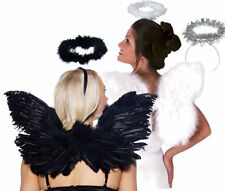 Black or White Feather Wings & Halo's Halloween Costume Accessories (or Silver)