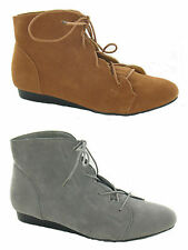 WOMENS FAUX SUEDE LOW WEDGE PIXIE ANKLE BOOTS SHOES LACE UP LADIES UK SIZE 3-9