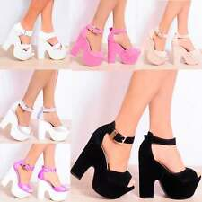 ANKLE CUFF PLATFORMS CHUNKY BLOCK HEEL WEDGES WEDGED HIGH HEELS SIZE 3 4 5 6 7 8