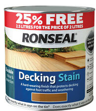 RONSEAL DECKING STAIN 25% FREE 2.5 LITRES FOR THE PRICE OF 2 LITRES