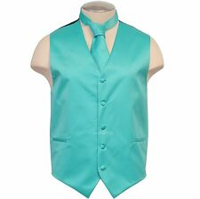 New Formal Men's Vest Tuxedo Waistcoat & Necktie Aqua Blue Turquoise Wedding