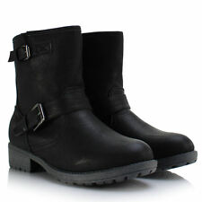 WOMENS LADIES BIKER LEATHER STYLE WINTER ANKLE COMBAT LINED BOOTS MILITARY PIXIE