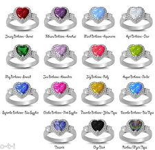 Magnificent Heart Cut Gem Birthstone Genuine Sterling Silver Ring Size 4 - 12