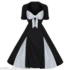 ROCKABILLY 50s WHITE BLACK POLKA DOT VINTAGE STYLE PIN UP SWING PROM DRESS 8-20