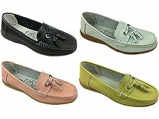 Ladies New Real Leather Tassel Slip On Wider Fitting Loafer Moccasin Shoes Size