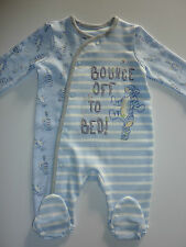DISNEY Really Cute 'Bounce Off To Bed' TIGGER Blue Stripe Sleepsuit NWT