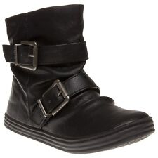 New Womens Blowfish Black Ranuku Synthetic Boots Ankle Buckle Zip