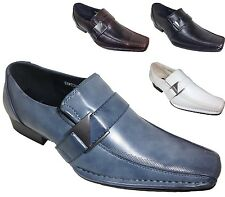 Mens Alberto Fellini Leather Dress Shoes Formal Wedding Slip On Buckle Tony Blue
